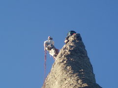 Rock Climbing Photo: Needles area.  Custer state park.  Simultanious ra...
