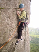 Rock Climbing Photo: Traversing towards P1 belay corner