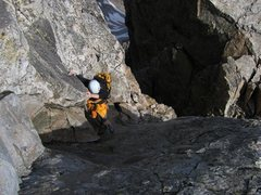 Rock Climbing Photo: P girl 3rd classing the lower part of the route.  ...