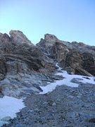 Rock Climbing Photo: Ellingwood Coulior with the Buckingham Ridge on th...