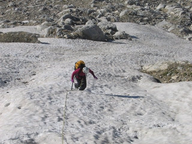 Rock Climbing Photo: Coming up the bottom of the Ellingwood Coulior enr...