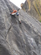 Rock Climbing Photo: Finishing up the FA of 'Five Amigos' (.10c/d), Los...