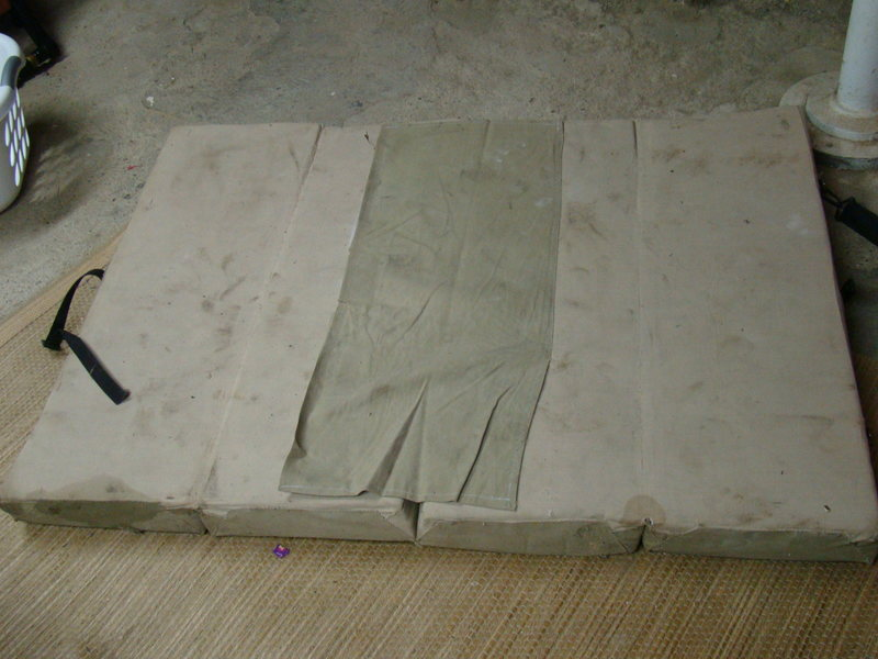 laid out with velcroed on cloth to close center seam