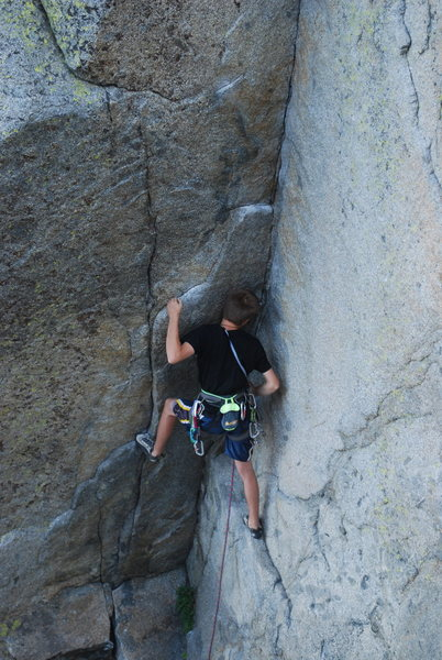Me on a rare onsight lead of the ultra classic Papa Bear 5.11b.