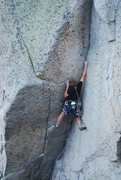 Rock Climbing Photo: Reaching for the crux hold.