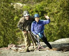 Rock Climbing Photo: with my son Tristan, at the belay on Hairpin