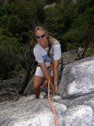 Rock Climbing Photo: Sibylle on Corner Crack