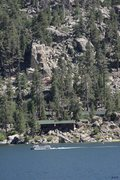 Rock Climbing Photo: Fisherman's Buttress, with the road highlighted in...