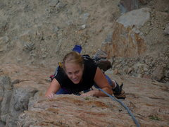 Rock Climbing Photo: Krissy on the 1st pitch