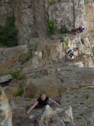 Rock Climbing Photo: Popular route.  One of 2 parties behind us, glad w...