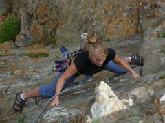 Rock Climbing Photo: Krissy studying opposition on the beautiful double...
