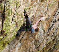 Rock Climbing Photo: Ian on the big cross-through coming out of the Ori...
