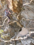 Rock Climbing Photo: Climbing the cool rock of the lower section of Oed...