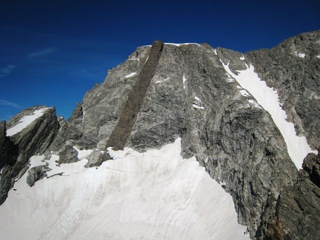 Mount Moran: view of the CMC, Dike, Falling Ice and upper Skillet Glaciers from the East Horn