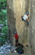Rock Climbing Photo: John Ross starting up Tank Trap.