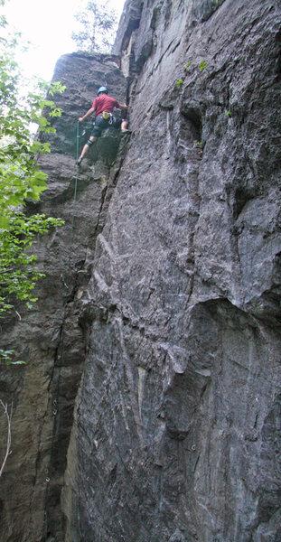 Rock Climbing Photo: Kip Henrie nearing the top of Tank Trap.