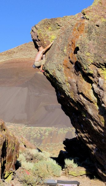 Rock Climbing Photo: The mental crux.  Moving from the overhanging jugs...