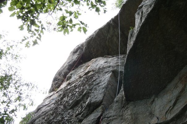 Rock Climbing Photo: The upper crux of As the Cliff Turns is on the lef...