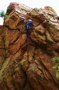 Rock Climbing Photo: At the third bolt on Lady Luck