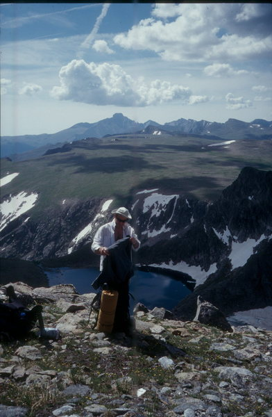 Looking southeast from Sprague Mountain, past Rainbow Lake & Bighorn Flats, with Long's Peak in the distance.