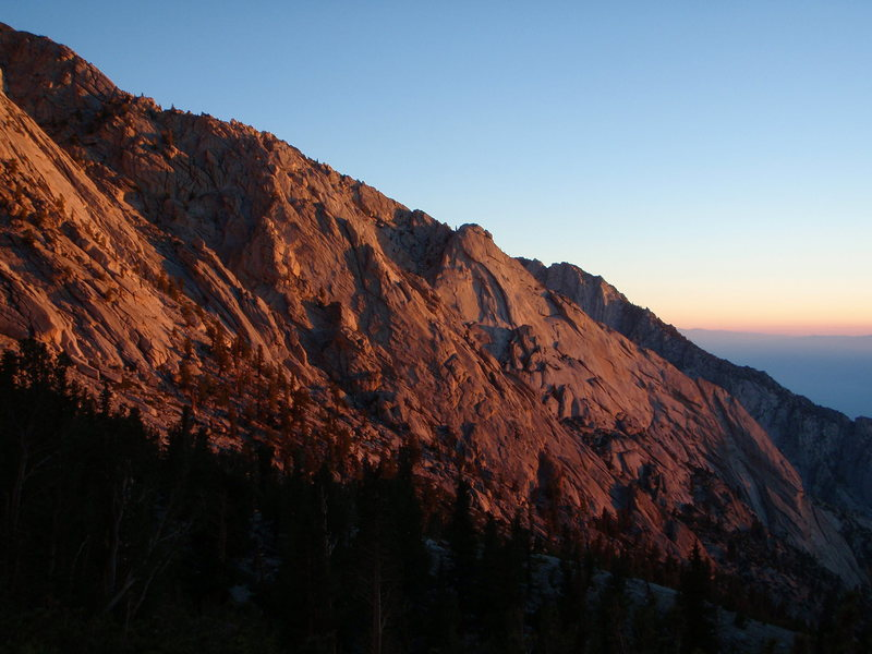 Morning light on some of the many domes and cliffs lining the north side of Lone Pine Creek.
