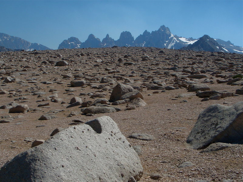 The western shoulder of Lone Pine Peak feels a little lunar. Mount LeConte (right) and the Corcoran Pinnacles in the background.
