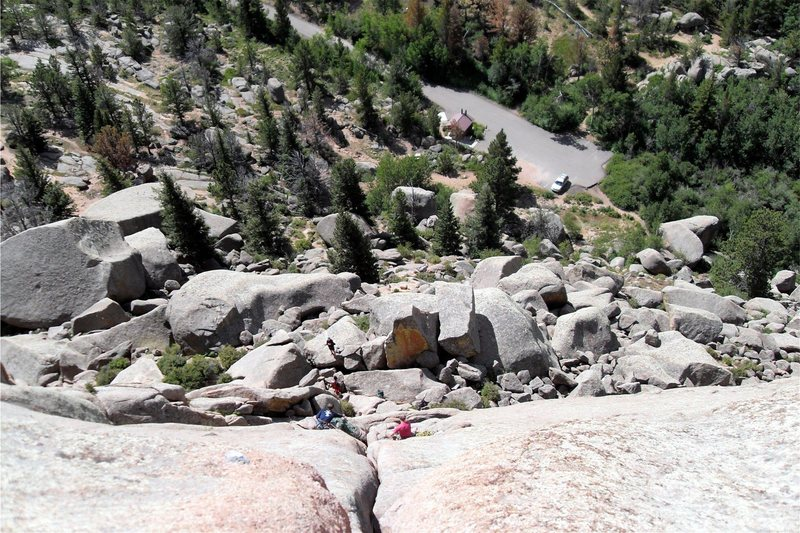 Looking down Edward's Crack from the top.  As can be seen, the middle belay ledge is large enough to hold at least three climbers.