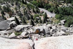 Rock Climbing Photo: Looking down Edward's Crack from the top.  As can ...