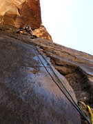 Rock Climbing Photo: At the crux of Dark Shadows, February 2009.  Photo...
