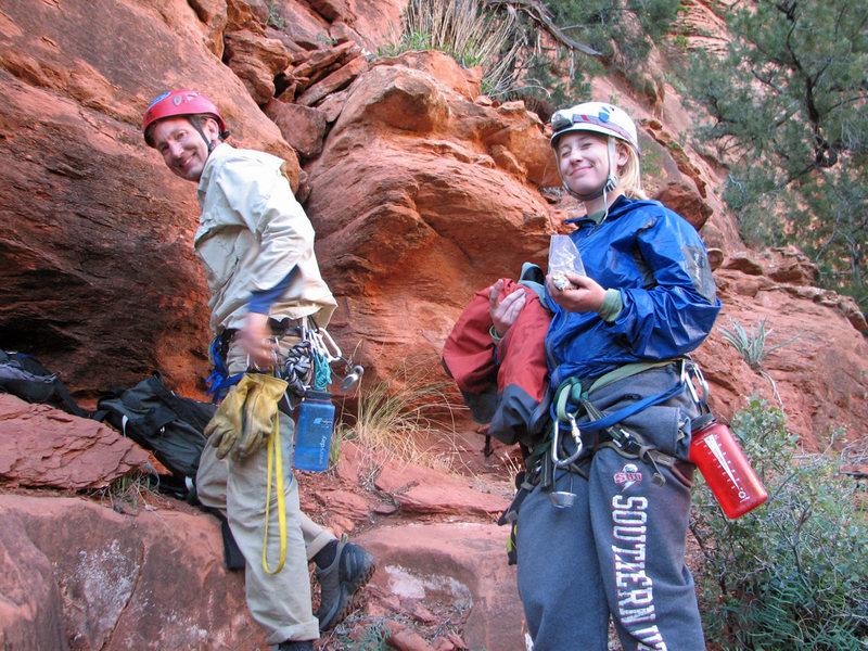 With Gwen after climbing <em>[[105717823]]</em>, April 2009.<br> <br> Photo by Lee Jensen.
