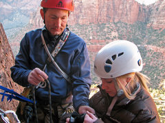 Rock Climbing Photo: With Gwen at the P1 belay of Ashtar Command, April...