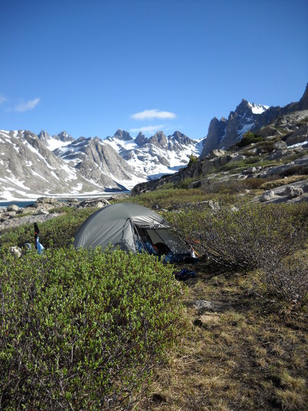 Our second camp just below lower Titcomb Lake