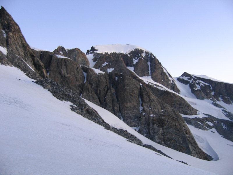 Rock Climbing Photo: Gannett from glacier below Bonnie Pass.