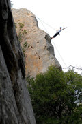 Rock Climbing Photo: Audrey Walzer lowers off after a successful run up...