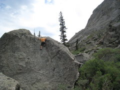 Rock Climbing Photo: Toping out on Timeline.  There is a nice jug, but ...