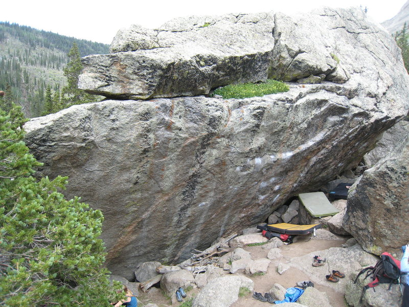 The stellar south face of the Dali Boulder.  The heavily chalked line in the center is The Dali.