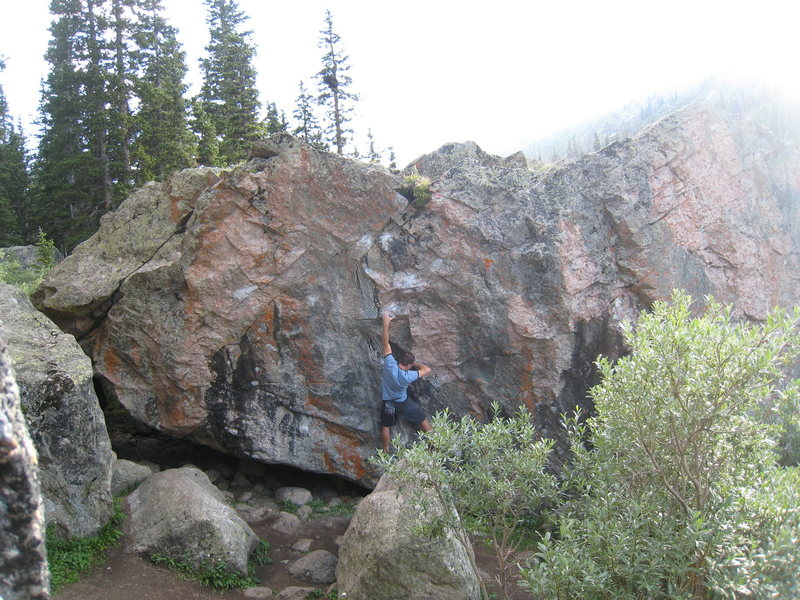 Beginning up Pink Fink.  Snow White (V7) traverses left from this point.