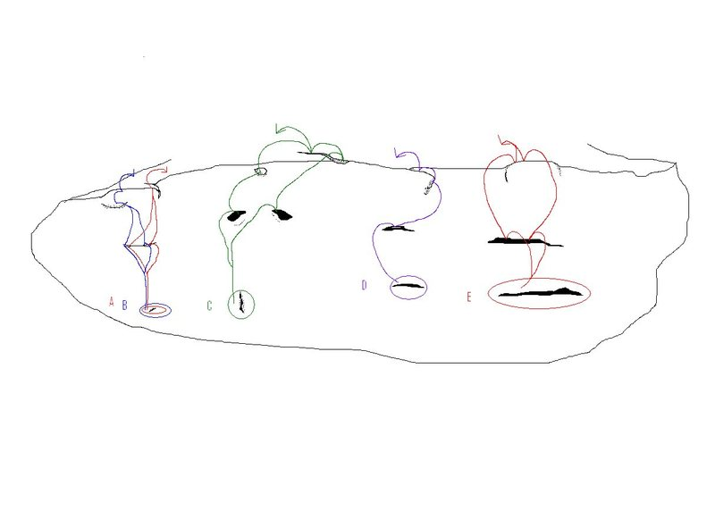 A rough sketch to use as a guidline to finding the problems established on the Spring Boulder