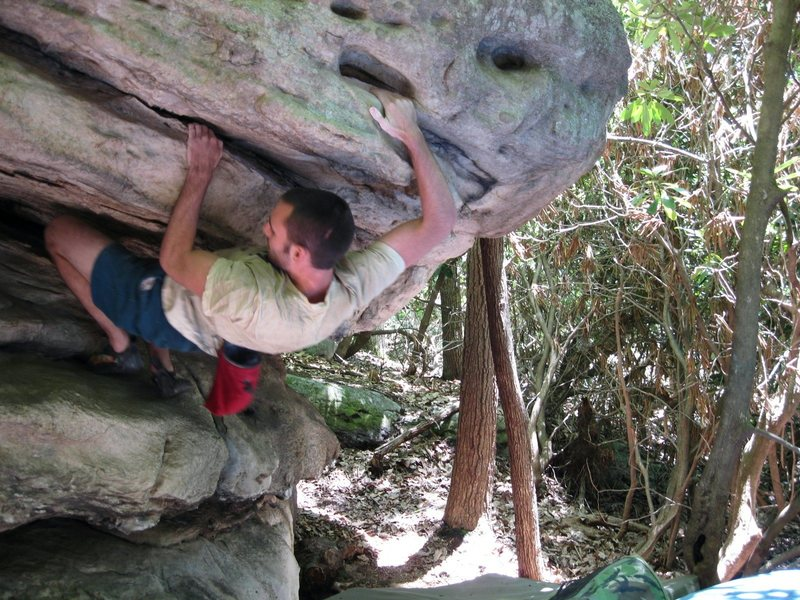 "Rock Climbing Photo: Steve coming out of the ""Grindstone"" pro..."