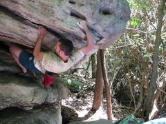 """Rock Climbing Photo: Steve coming out of the """"Grindstone"""" pro..."""