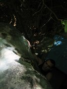 Rock Climbing Photo: Steve useing the small sloper before tossing to th...