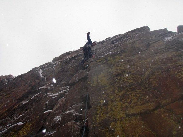 Rock Climbing Photo: Breaking out the aid slings on a winter ascent of ...