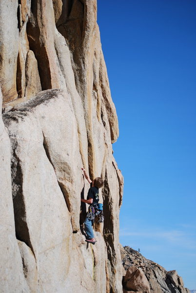 Rock Climbing Photo: Me about to reach the ledge where the left travers...