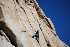 Rock Climbing Photo: Starting up the crux finger crack. The steepness o...