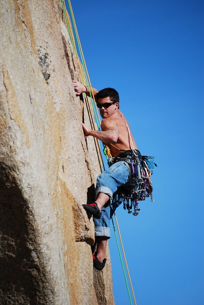 Karl battling out the crux.