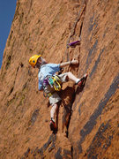 Rock Climbing Photo: Ethan on his way up Handful of Crack, Fistful of P...