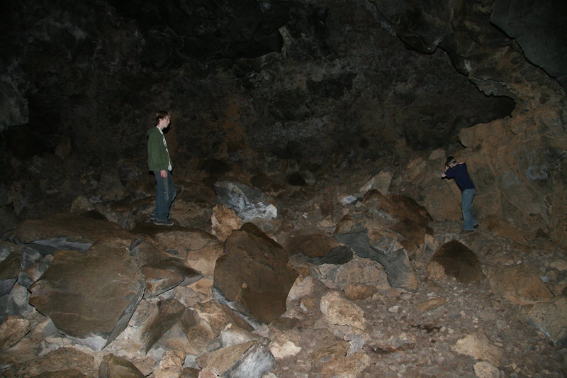 Truman and Ethan in a lava tube cave in <em>Snow Canyon State Park</em>, March 2007.