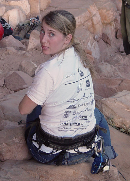 Gwen sitting at the base in <em>[[105716880]]</em>, November 2007.