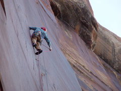 Rock Climbing Photo: On Supercrack of the Desert, November 2007.  Photo...