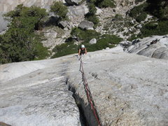 Rock Climbing Photo: Diana climbing up from the bolted second pitch bel...